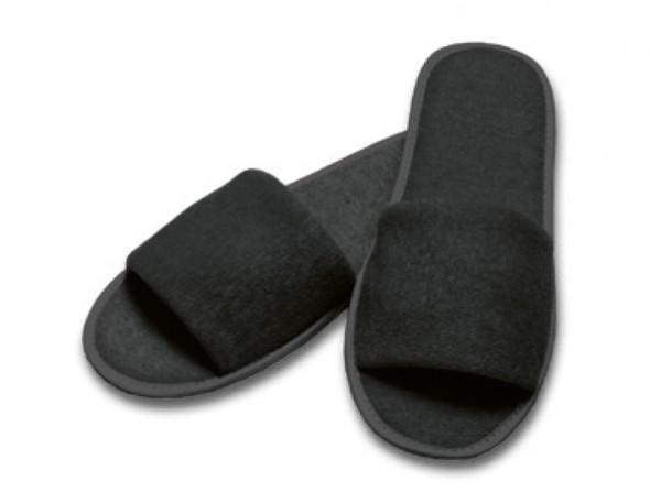 Frottee-Slipper schwarz
