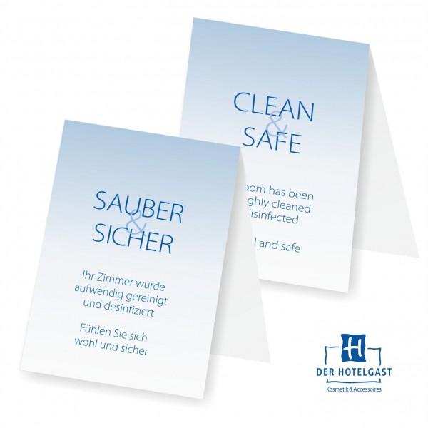 Hotel Aufsteller »sauber&sicher« »clean&safe«